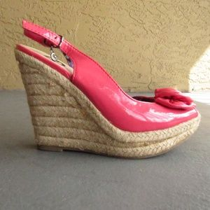 GUESS Pink Wedge Sandals, Size 6